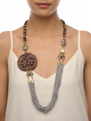 Brown-Grey Carved Onyx Necklace
