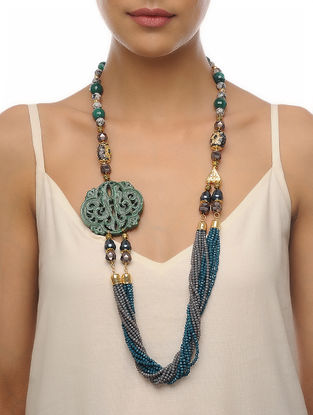 Teal-Grey Carved Onyx Necklace
