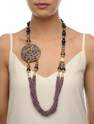 Black-Purple Carved Onyx Necklace