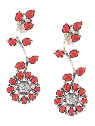 Red Silver Earrings with Floral Design