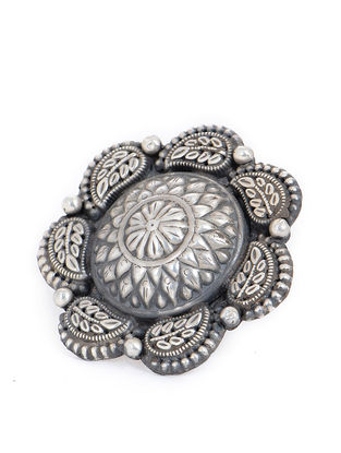 Tribal Adjustable Silver Ring with Floral Design