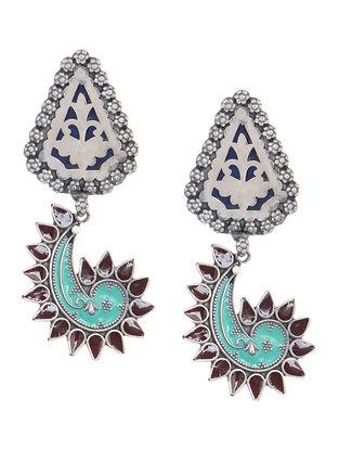 Blue-Brown Enamelled Silver Earrings