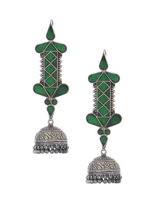 Green Glass Tribal Silver Jhumkis with Floral Motif