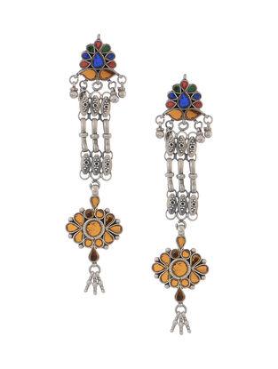 Multicolored Glass Tribal Silver Earrings