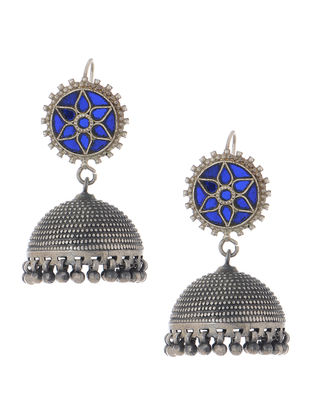 Blue Glass Tribal Silver Jhumkis with Floral Motif