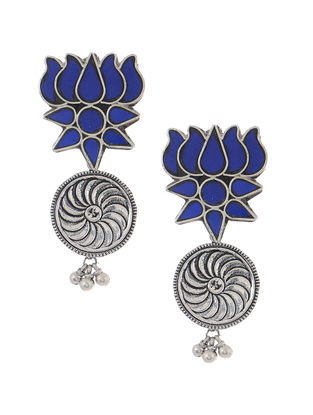 Blue Glass Tribal Silver Earrings with Lotus Design