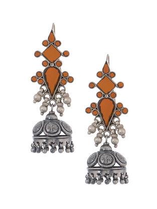 Orange Glass Tribal Silver Jhumkis