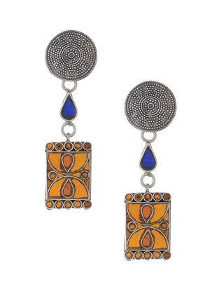 Orange-Blue Glass Tribal Silver Earrings