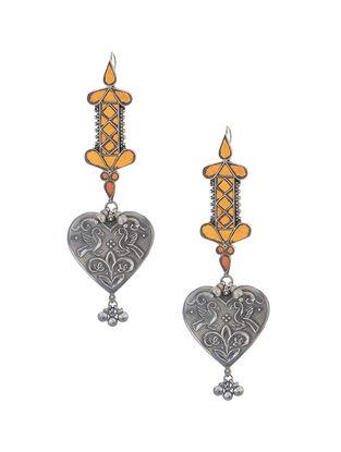 Orange Glass Tribal Silver Earrings