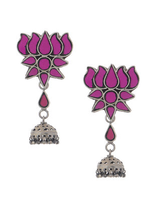 Purple Glass Tribal Silver Jhumkis with Lotus Design
