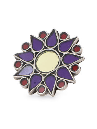 Purple-Red Glass Tribal Silver Ring (Ring Size -7.5)