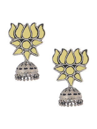 Yellow Glass Tribal Silver Jhumkis with Lotus Design