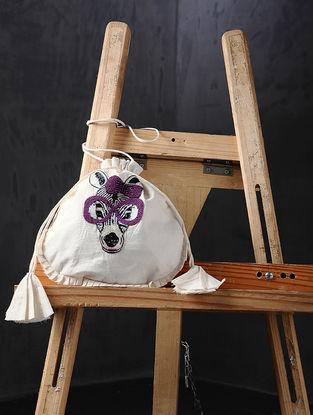 Pink-Beige Hand Embroidered Cotton Potli
