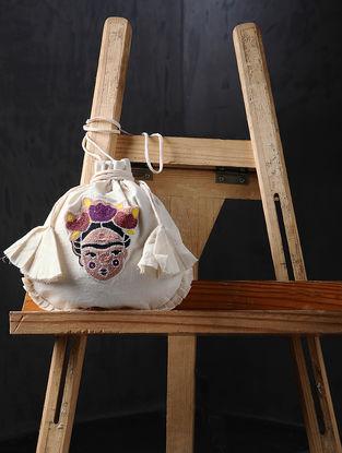 Multicolored-Beige Hand Embroidered Cotton Potli