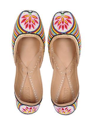 Multicolored Hand-Embroidered Kora Cotton Juttis with Beadwork