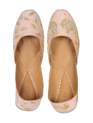 Pink Hand-Embroidered Cotton Silk Juttis with Zardozi Work