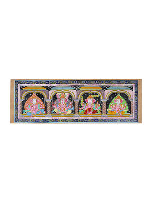 Ganesh Pattachitra Artwork on Tussar Silk- 14.5in x 43.5in