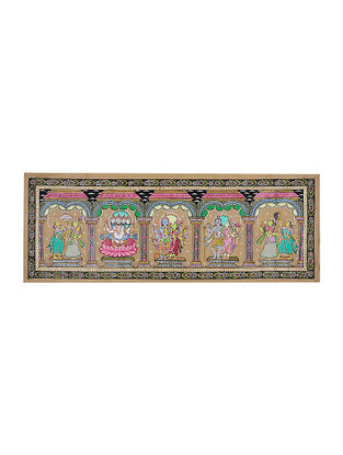 Brahma, Vishnu, Maheswar Pattachitra Artwork on Tussar Silk- 16in x 42.5in