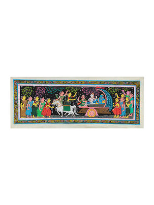 Krishna Mathura Victory Raas Leela Pattachitra Artwork on Tussar Silk- 16.5in x 43in