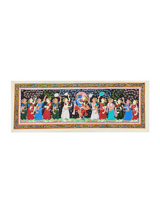 Krishna Mathura Victory Raas Leela Pattachitra Artwork on Tussar Silk- 16in x 43in