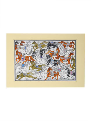 Horse Pattachitra Artwork on Tussar Silk- 13.5in x 19in