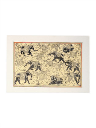 Elephant Pattachitra Artwork on Tussar Silk- 13.5in x 19in