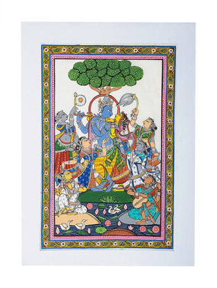 Raas Leela Pattachitra Artwork on Tussar Silk- 19.5in x 14in
