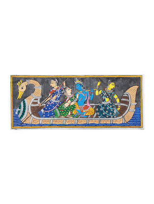 Radha-Krishna Pattachitra Artwork on Tussar Silk- 9.3in x 20in