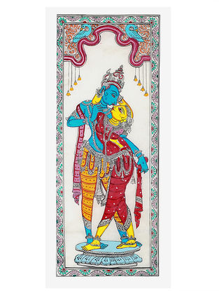 Radha-Krishna Pattachitra Artwork on Tussar Silk- 20in x 9.5in