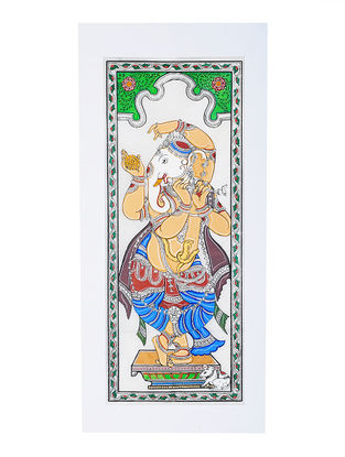 Ganesha Pattachitra Artwork on Tussar Silk- 20in x 9.5in