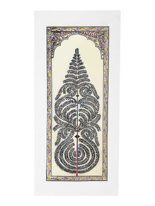 Tree of Life Pattachitra Artwork on Tussar Silk- 20in x 9.2in