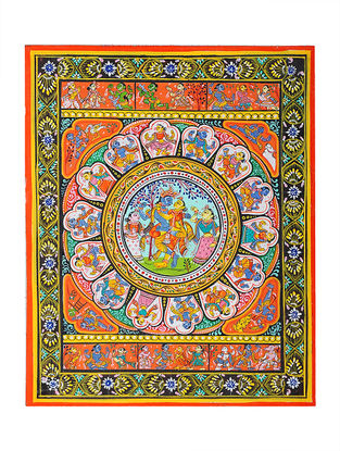 Krishna Story Pattachitra Artwork on Canvas- 10in x 8in