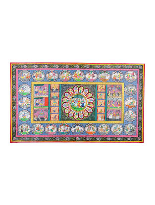 Krishna Story Pattachitra Artwork on Canvas- 24in x 41in