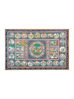 Krishna Story Pattachitra Artwork on Canvas- 24in x 39in