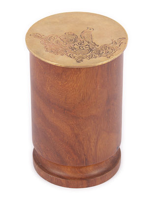 Padmanabh Sheesham Wood Jar with Copper Lid (L:in, W:2in, H:3in)