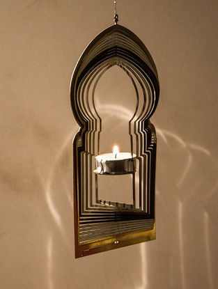 Rumi Handcrafted Brass Tea Light Holder (L:8.7in, W:4.7in, H:0.02in)