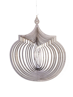 Rumi Handcrafted Hanging Stainless Steel Tea Light Holder (L - 4.7in, W- 5.7in, H - 0.02in)