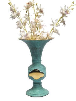 Zebrowski Handcrafted Brass Gulabdan Vase (Dia:5.9in, H:8.6in)