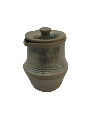Handcrafted Beige Ceramic Chutney Jar with Lid (L:3.5in, W:2.5in, H:2.5in)