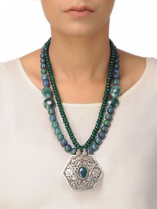 Agate and Processed Malachite Beaded Silver Necklace with Chitari Pendant