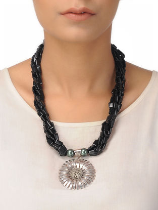 Black Onyx Beaded Silver Necklace with Floral Design