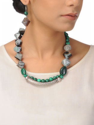 Green-Black Moss Agate and Malachite Silver Necklace with a Pair of Earrings (Set of 2)