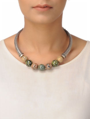 Unakite Silver Necklace