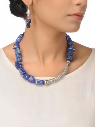 Lapis Lazuli Silver Necklace with a Pair of Earrings (Set of 2)