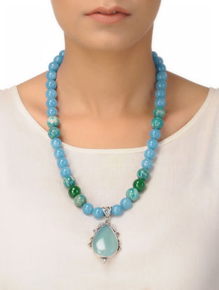 Aquamarine and Green Agate Beaded Silver Necklace