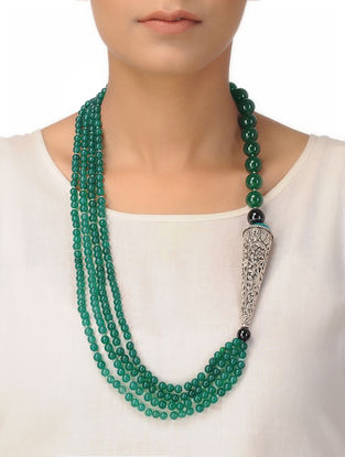 Green Jade and Agate Beaded Silver Necklace with Floral Motif