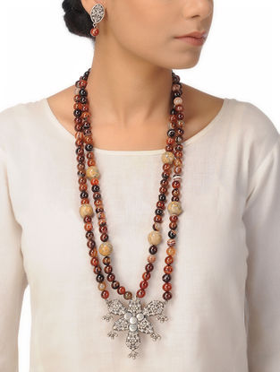 Brown Banded Agate and Agate Beaded Silver Necklace with a Pair of Earrings (Set of 2)
