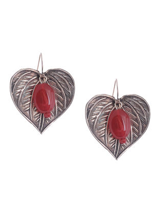 Red Chalcedony Silver Earrings with Leaf Design