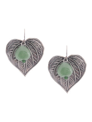 Green Aventurine Silver Earrings with Leaf Design