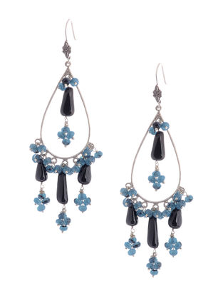 Black Onyx and Blue Agate Drop Silver Earrings